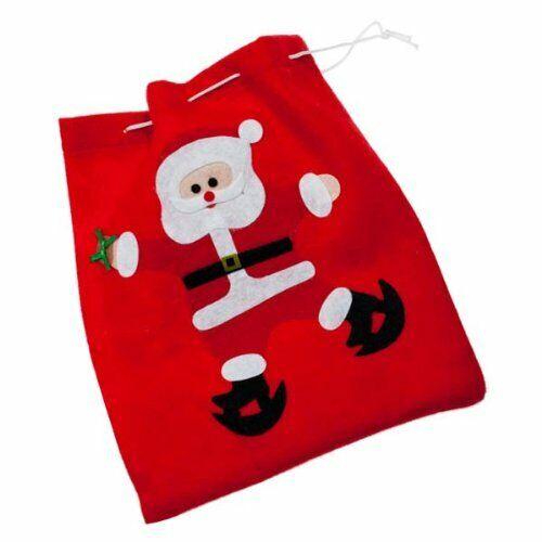 Decoris Small Felt Christmas Gift Sack Sweet Bag 25.5cm x 23.5cm Santa Skating
