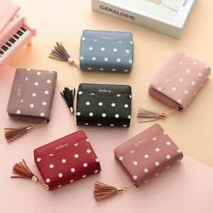 Purse-Mini-Leather-Small-Wallet-Short-Bifold-Wallets-Tassel-Zipper-Dots-Print