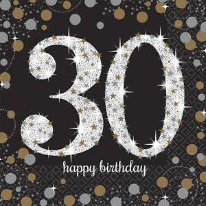 30th-Noir-Brillant-Celebration-33cm-Serviettes-en-papier-pour-fete-1-96pk