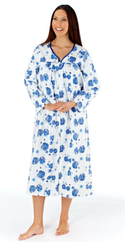 Long Sleeve Zip Through Floral Nightdress Robe Gown PJ Cotton Nightie Size 10//20