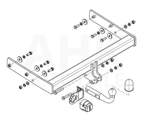 Für Volkswagen Transporter T6 Kasten ab 15 mit Vorbereitung AHK starr+ES 13sp.