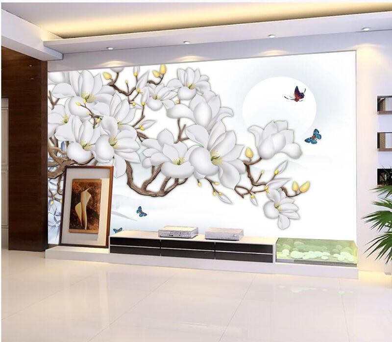 3D bluee Butterfly Flower Moon 7 Wall Paper Wall Print Decal Wall AJ WALLPAPER CA