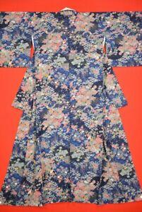 Vintage-Japanese-Silk-Antique-BORO-KIMONO-Kusakizome-Dyde-Textile-TT10-920