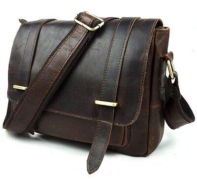 Men's Vintage Crazy Horse Leather Briefcase Messenger Bags Shoulder Bag 3 colors