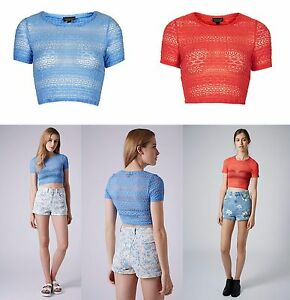 34745c69651fa3 TOPSHOP Bobble Lace Fitted Stretch Crop Top Size 6 8 10 12 14 16 ...