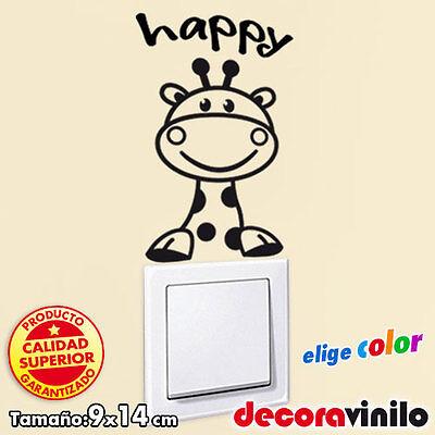 Vinilo decorativo pegatina infantil interruptor enchufe jirafa happy