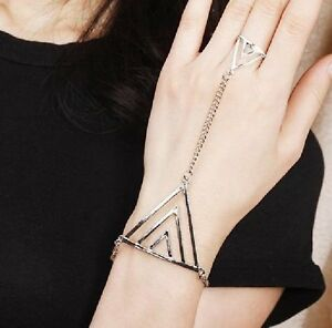 Slaves-Bracelet-with-Ring-Chain-Triangle-Hand-Decoration-Silver-Coloured