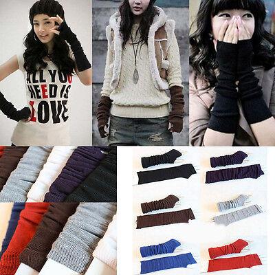 Fashion Women Knitted Fingerless Winter Gloves Unisex Soft Warm Long Mitten