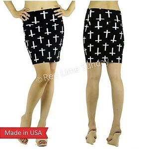 Women-Black-White-Cross-Print-Cotton-Wide-Waistband-Mini-Pencil-Tube-Skirt-USA