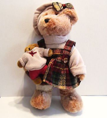 Teddy Bear Mom and Baby Plush Autumn Fall Clothing Plaid Skirt Sweater Tam 15in.