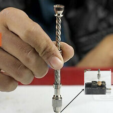 Mini Pin Vise Wood Spiral Hand Push Drill Chuck Micro Twist Bit Jewellery Tool