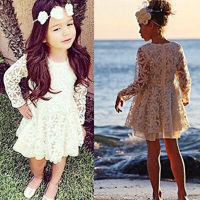 Fashion Kids Girls Princess Flower Tutu Dress Party Formal Lace Skirt For 2-11Y