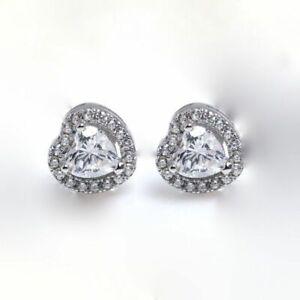 Estate-14k-White-Gold-Puffy-Heart-Stud-Ladies-Earrings-1-5g