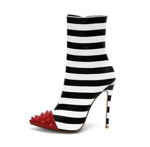 Women's Black White Striped High Heels