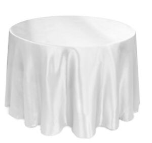 "90"" Satin Round Table Cover Seamless Wedding Banquet Tablecloth - WHITE"