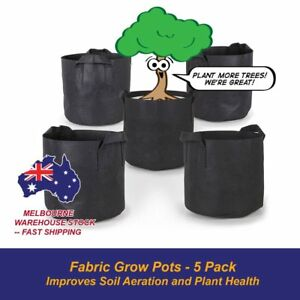 5-Pack-Fabric-Plant-Pots-Grow-Bags-w-Handles-Aeration-Pots-ALL-SIZES