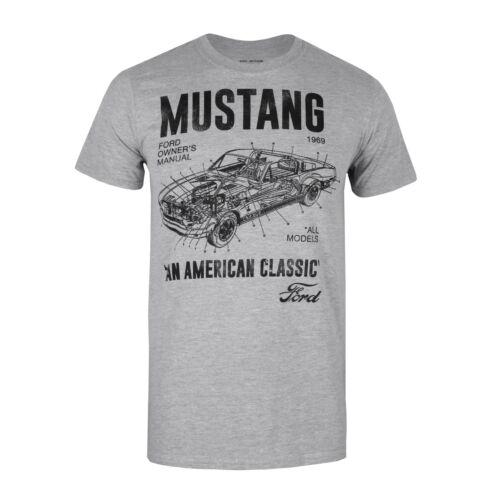 Size S,M,L,XL,XXL Mustang Manual Ford T-shirt Mens Grey
