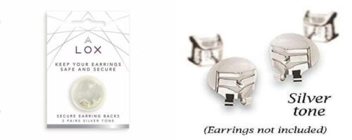 2 Pair Pack 2 Pack, Mega-Grip Earring Backs Silver Tone LOX
