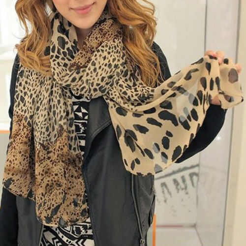 Womens Leopard Print Chiffon Shawl Scarf Beach Long Wrap Stole Holiday Scarves