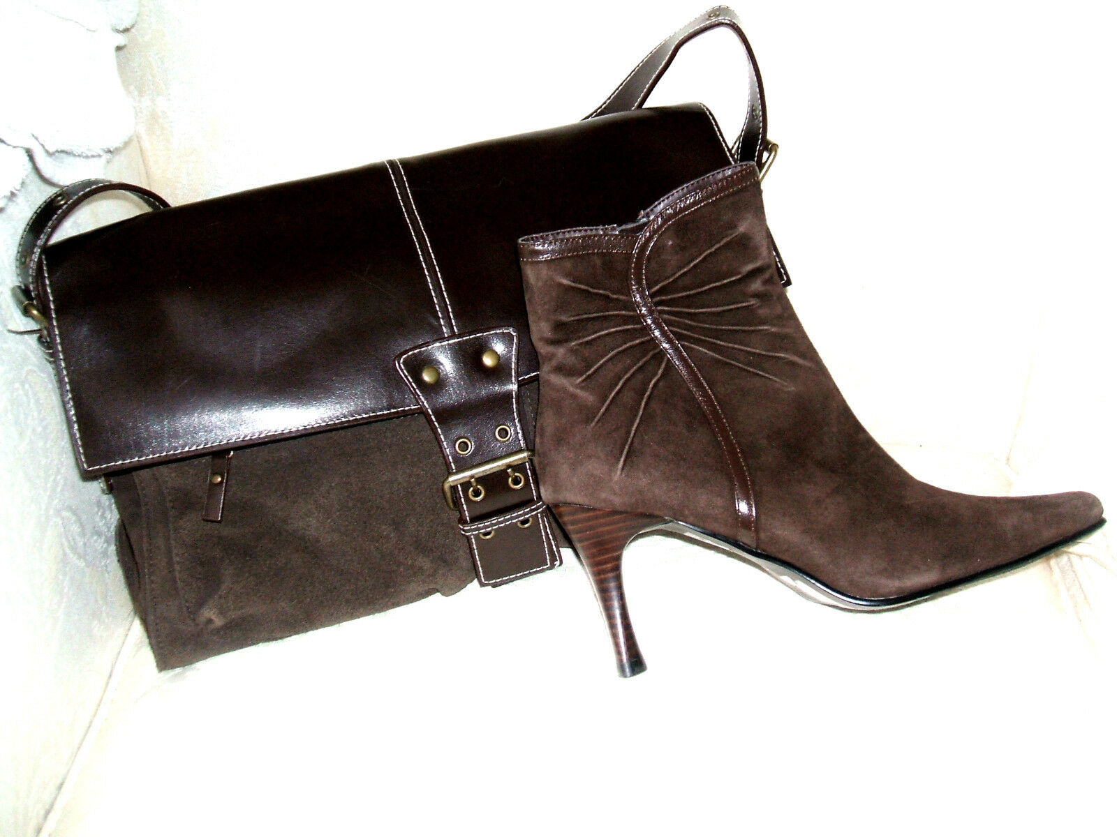 NEW LOTUS SIZE 5 38 BROWN REAL SUEDE SHOULDER LEATHER ANKLE Stiefel & SHOULDER SUEDE HANDBAG BAG 37d361