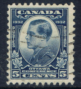 Canada-193-3-1932-5-cent-blue-Prince-of-Wales-Edward-Used-CV-4-00