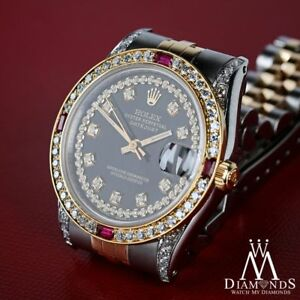 7d02af0ebfa Unisex Rolex SS   Gold 36mm Datejust Glossy Black String Dial Ruby ...