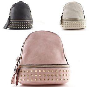 ba31581f85 Zaino piccolo con borchie borsa zainetto donna borchiato nero rosa ...