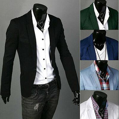 Stylish Formal Men's Suit Blazer Coat Jacket Tops Casual Slim Fit One Button