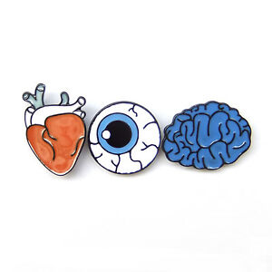 752991e780 Details about 3pcs Blue Brain Eyeball Red Heart Organ Cool Fun Halloween  Gift Brooch Lapel Pin