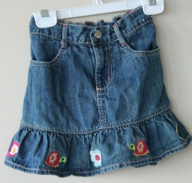 "3 /""NWT/"" Gymboree Woodland Friends Flowered Denim Skirt Skort w// Flowers Size"