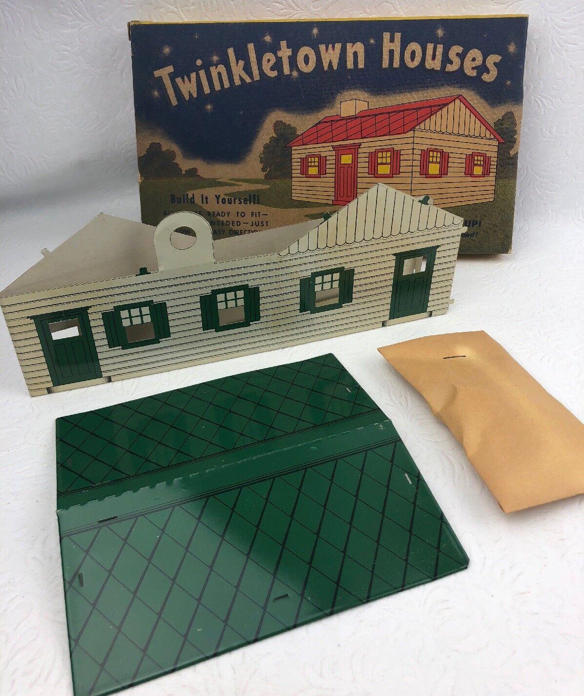 Vintage H&h ventas twinkletown Metal Casa verde y blancooo se enciende Caja Original