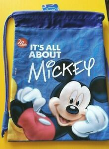 Disney-Mickey-Mouse-Blue-Drawstring-Backpack-039-It-039-s-All-About-Mickey-039