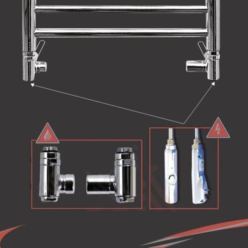 300 W Chrome élément thermostatique /& dual valve d/'essence Kit pour radiateurs porte-serviettes