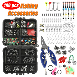 188PCS Fishing Accessories Kit set with Tackle Box Pliers Jig Hooks Swivels USA