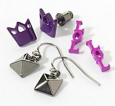 Princess Vera Wang Jet Pyramid Purple Crown LOL Stud Earring Set of 3