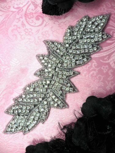 JB83 Black Backing Leaf Cluster Crystal Clear Silver Beaded Rhinestone Applique