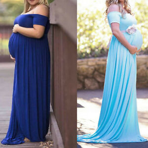 Pregnant Women Cotton Off Shoulder Dress Wedding Baby Shower