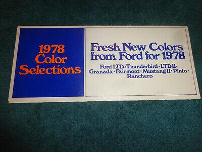 1978 Ford LTD Thunderbird Granada Mustang II Pinto Ranchero Paint Chip Brochure