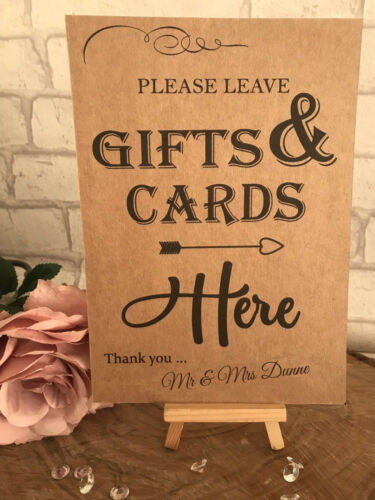 Cadeau Personnalisé /& CARTES TABLEAU signe Post mariage Recyclé Kraft Carte Rustique A5