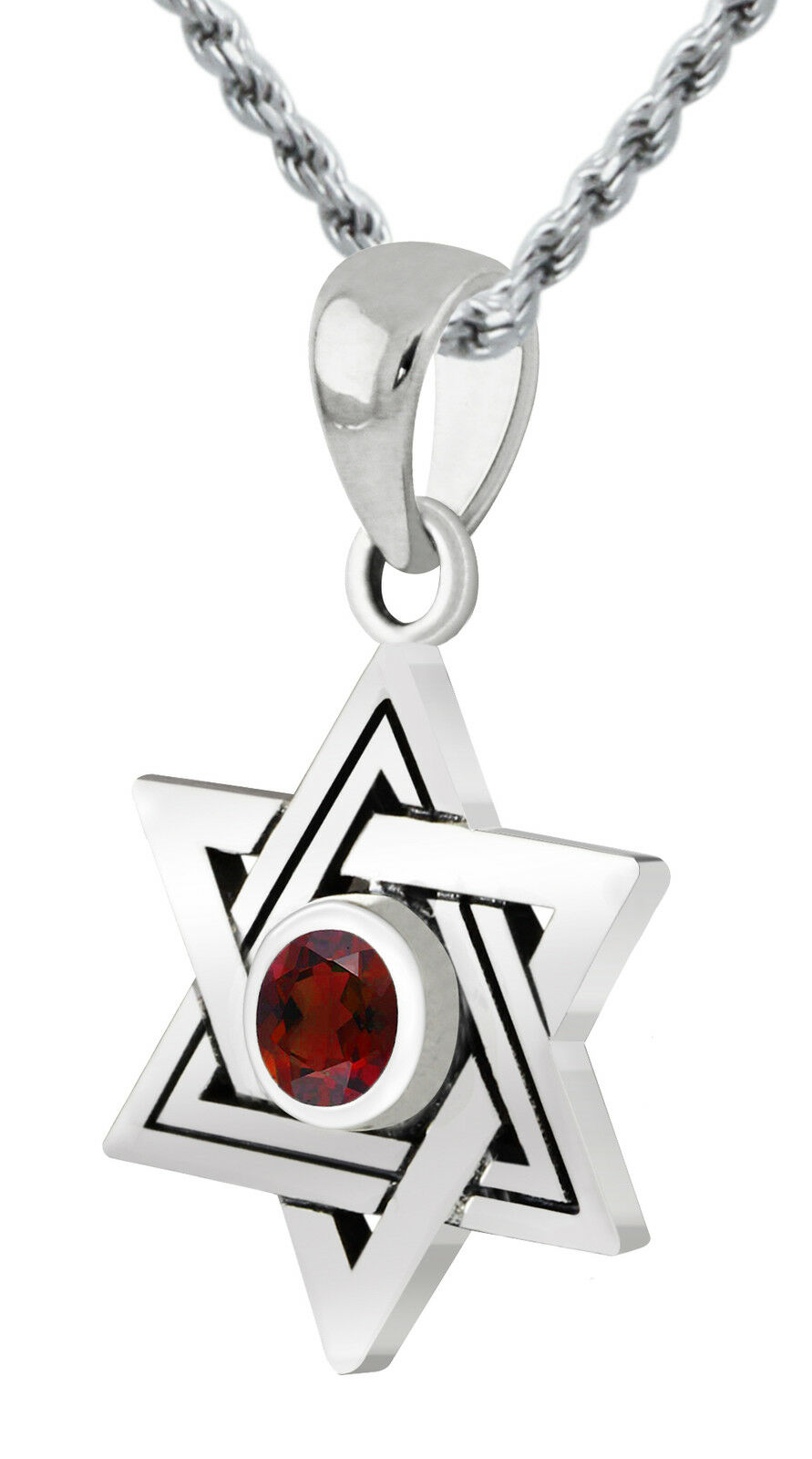 New 0.925 Sterling Silver Star of David Jewish Pendant