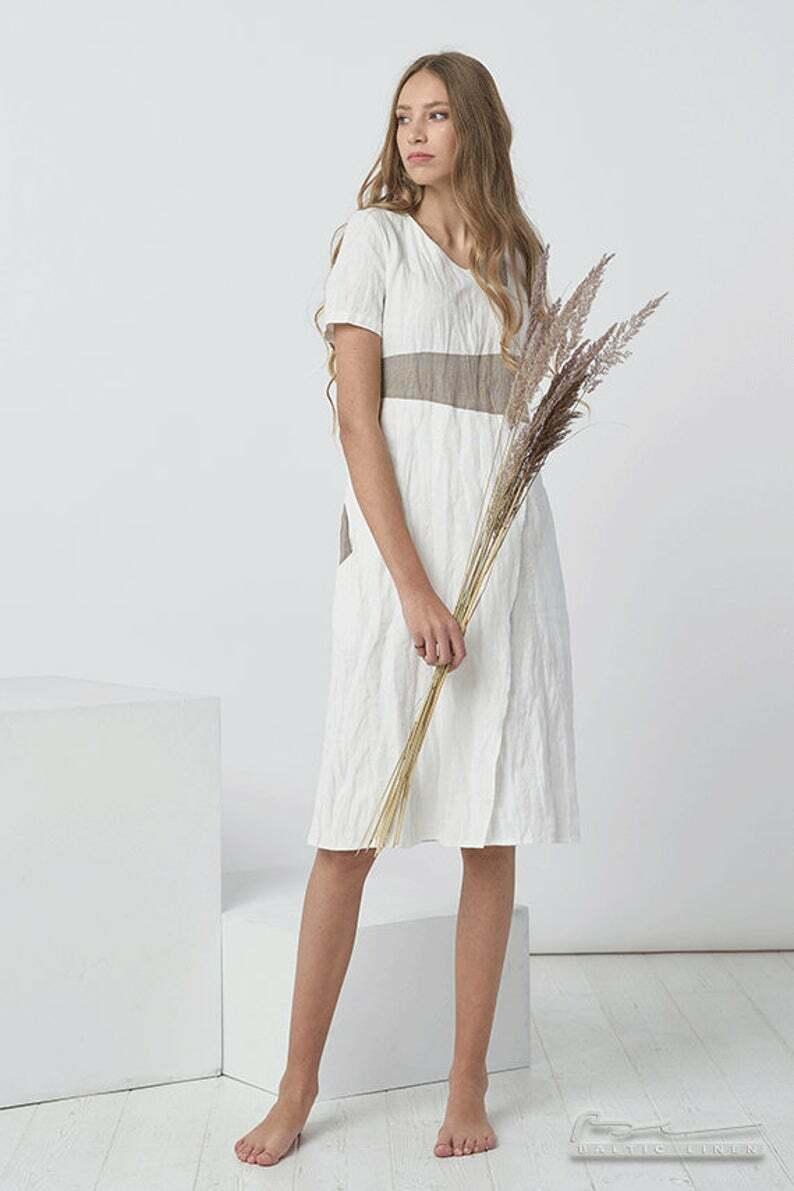 PATTERNS Women Pure Linen Dress Flax Washed Soft Linen Summer Dresses