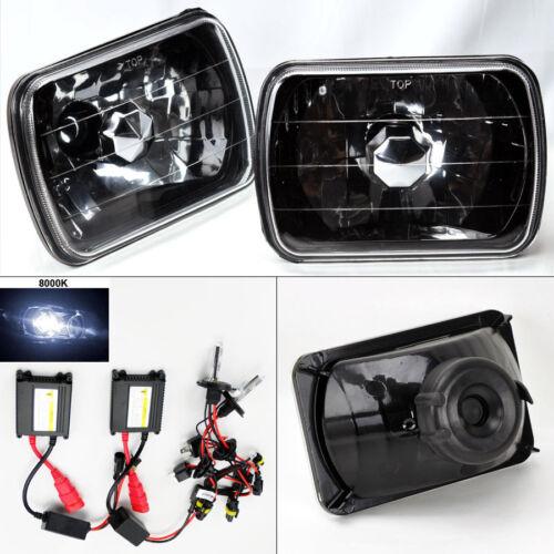 """7X6/"""" 8K HID Xenon H4 Black Chrome Glass Headlight Conversion Pair RH LH Ford"""