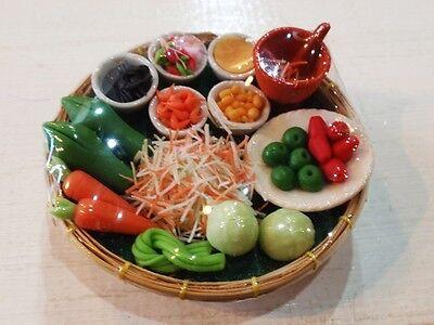 NEW THAI FOOD SET SOM TAM PAPAYA SALAD DOLLHOUSE MINIATURE ART CLAY GIFT 1 PC.