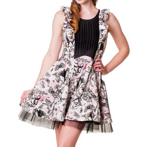 Banned-Apparel-Bats-amp-Butterflies-White-Pink-amp-Black-Ruffle-Vintage-Style-Dress