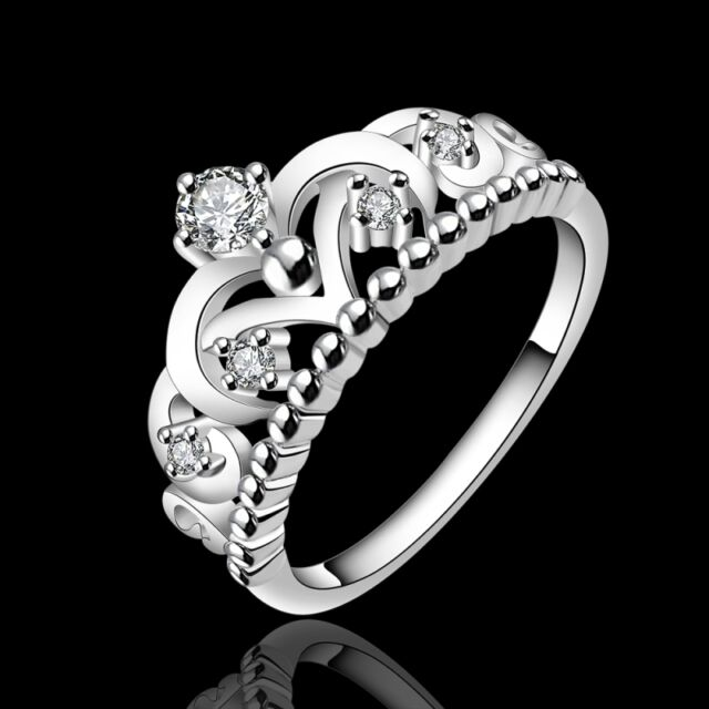 New Women 925 Sterling Silver Plated princess Crown Band Solid Ring Jewelry 8