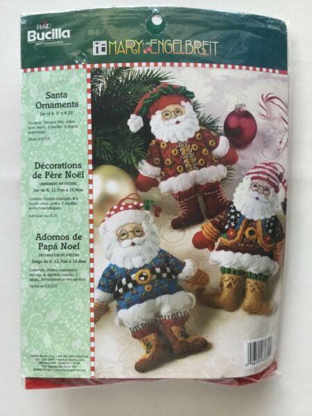 Bucilla Mary ENGELBREIT Santa CHRISTMAS TEAPOTS Felt Ornaments Kit 85018 Mint