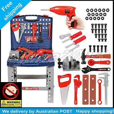 Tool Box Work Bench With Battery Operated Drill Set Kids