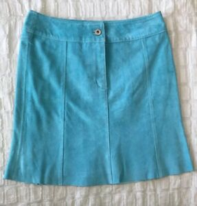 In-Suede-Teal-Turquoise-Blue-Genuine-Leather-Skirt-Women-039-s-Size-2