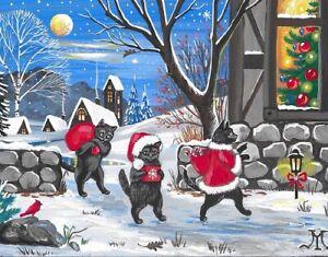 11X14 PRINT OF PAINTING RYTA CHRISTMAS HOLIDAY BLACK CAT CARDINAL TREE GIFT ART