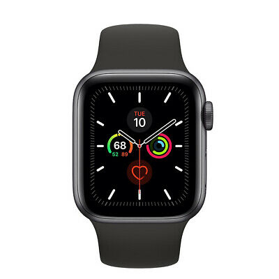 Apple Watch Series 5 44mm Caja de aluminio en gris para Negro Correa deportiva